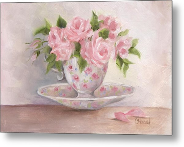 Teacup And Saucer Rose Shabby Chic Painting Metal Print