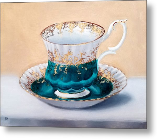 Metal Print featuring the painting Teacup by Linda Merchant