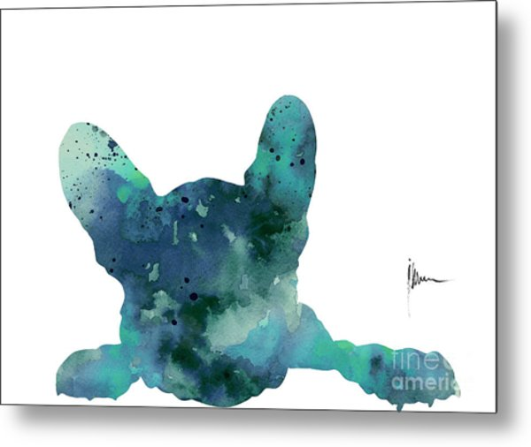 Teal Frenchie Minimalist Painting Metal Print