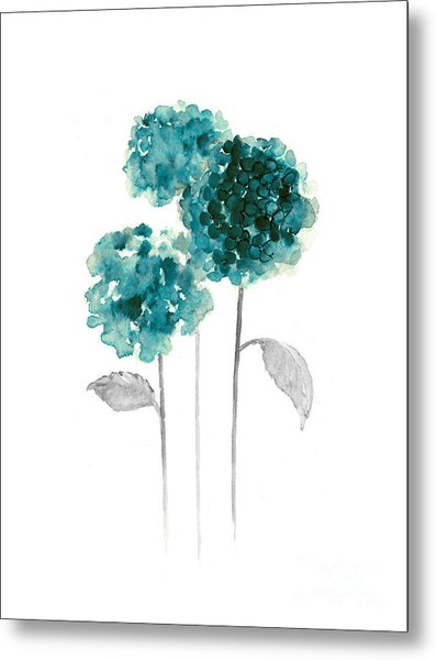 Teal Hydrangea Fine Art Print Metal Print