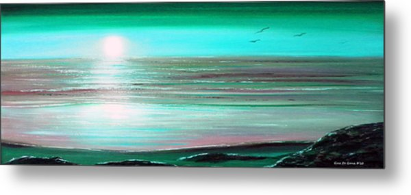 Teal Panoramic Sunset Metal Print