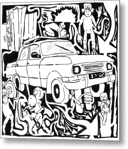 Team Of Monkeys Maze Comic Changing Tire Metal Print by Yonatan Frimer Maze Artist