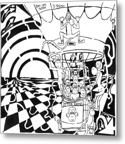 Team Of Monkeys Maze Comic Hot Air Balloon Metal Print by Yonatan Frimer Maze Artist