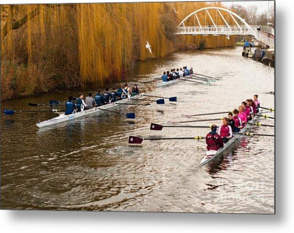 Teams Of Rowers On River Cam Metal Print