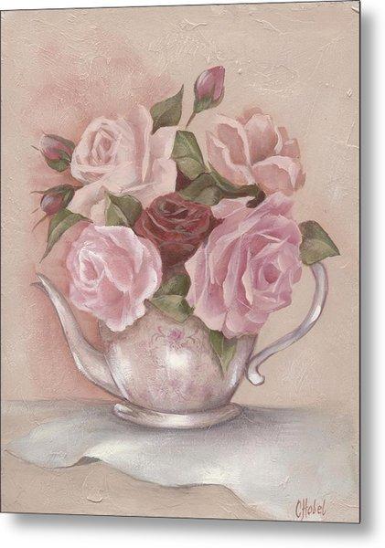 Teapot Roses Metal Print