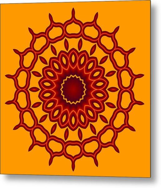 Teardrop Fractal Mandala Metal Print