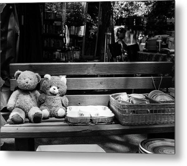 Teddy Bear Lovers On The Bench Metal Print