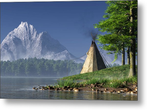 Metal Print featuring the digital art Teepee By A Lake by Daniel Eskridge