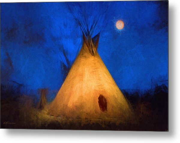 Teepee In Moonlight Metal Print