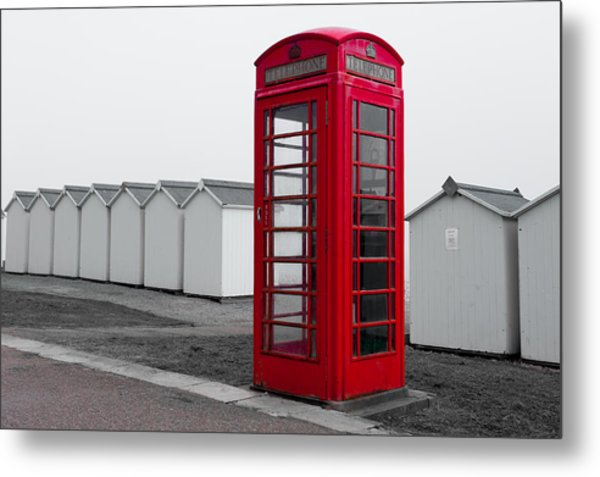 Telephone Box By The Sea I Metal Print