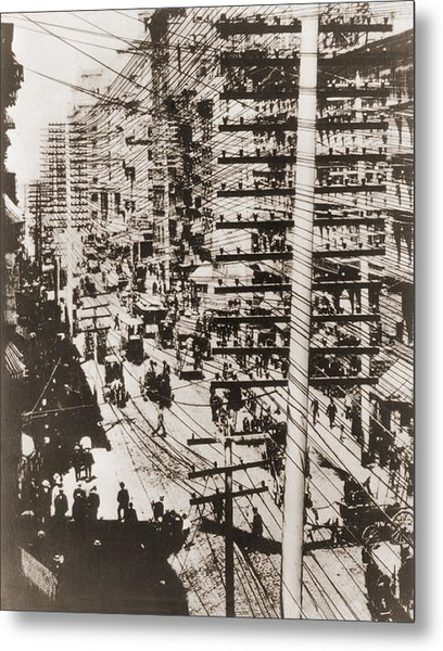 Telephone Wires Over New York, 1887 Metal Print