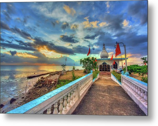 Temple In The Sea Metal Print