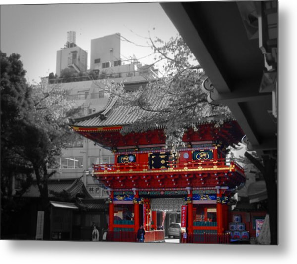 Temple In Tokyo Metal Print