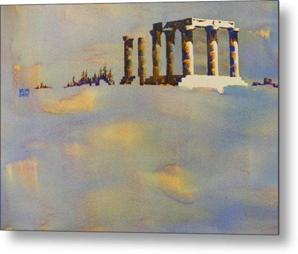 Temple Of Apollo Corinth Greece Metal Print