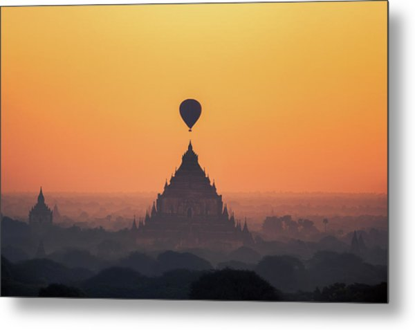 temples in Bagan with hot air balloon for traval on sun rise and Metal Print by Anek Suwannaphoom