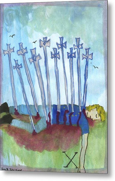 Ten Of Swords Illustrated Metal Print by Sushila Burgess