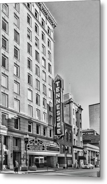 Tennessee Theatre Marquee Building Black And White Metal Print
