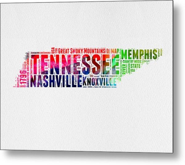 Tennessee Watercolor Word Cloud Map  Metal Print