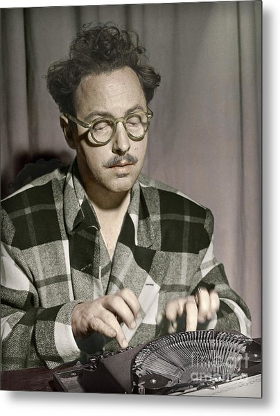 Tennessee Williams At His Typewriter Metal Print