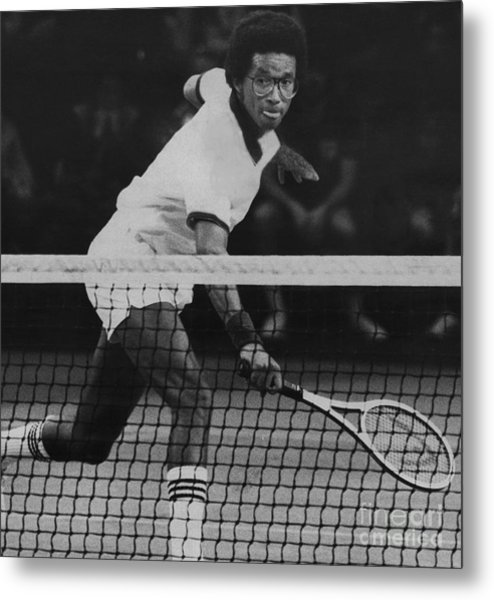 Tennis Great, Arthur Ashe, Returns The Ball At The Atp Worls Tour Finals In 1979. Metal Print by Bob Olen