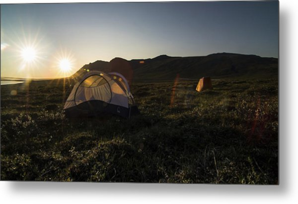 Tenting In The Midnight Sun Metal Print