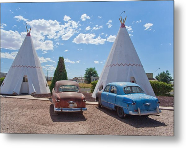 Tepee With Old Cars Metal Print