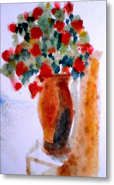 Terracotta Vase And Flowers Metal Print by Maria Rosaria DAlessio