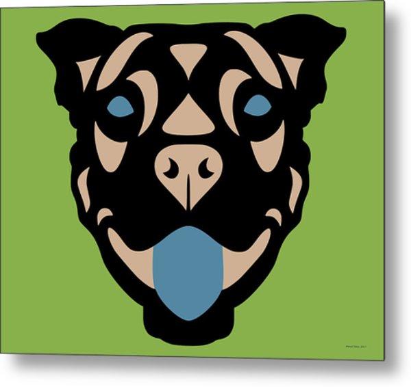 Terrier Terry - Dog Design - Greenery, Hazelnut, Niagara Blue Metal Print