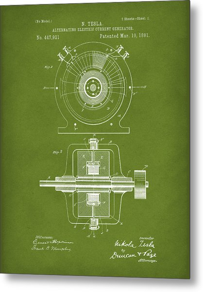 Metal Print featuring the drawing Tesla Generator 1891 Patent Art Green by Prior Art Design
