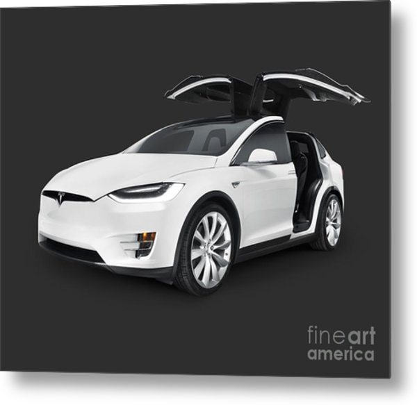 Tesla Model X Luxury Suv Electric Car With Open Falcon-wing Doors Art Photo Print Metal Print