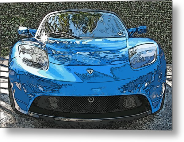 Tesla Roadster Electric Sports Car Metal Print