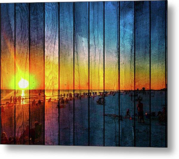 Siesta Key Drum Circle Sunset - Wood Plank Look Metal Print