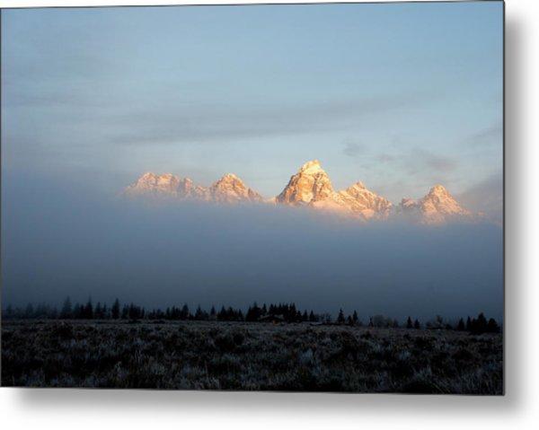 Teton Foggy Morning Metal Print