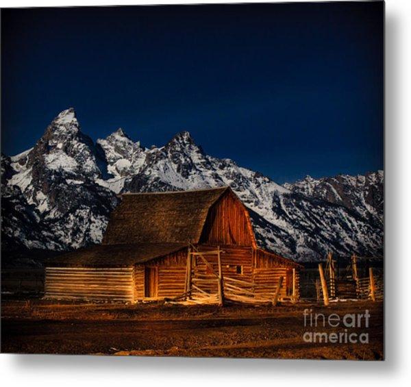 Teton Mountains With Barn Metal Print