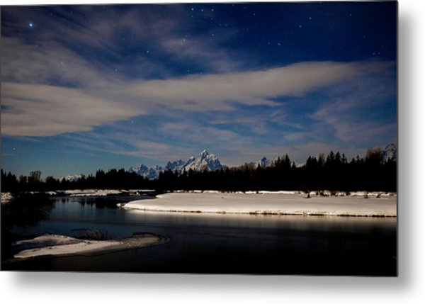 Tetons At Moonlight Metal Print