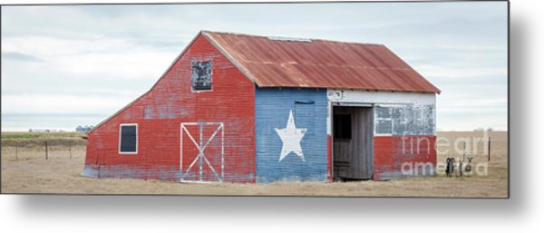 Texas Barn With Goats And Ram On The Side Metal Print