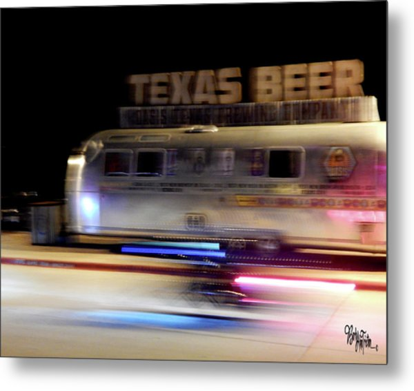 Texas Beer Fast Motorcycle #5594 Metal Print