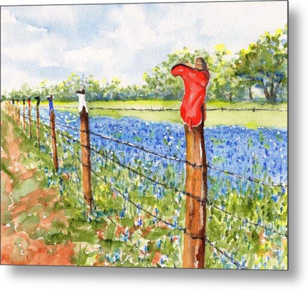Texas Bluebonnets Boot Fence Metal Print