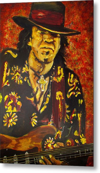Texas Blues Man- Srv Metal Print