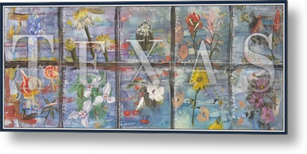 Texas Flowers In Blue Metal Print