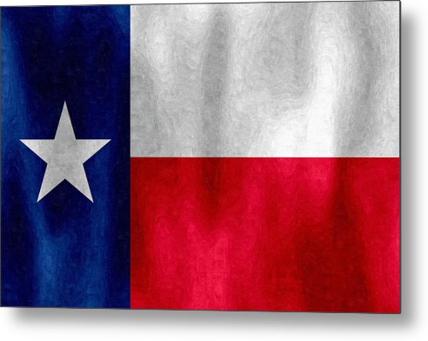 Texas Lonestar Flag In Digital Oil Metal Print