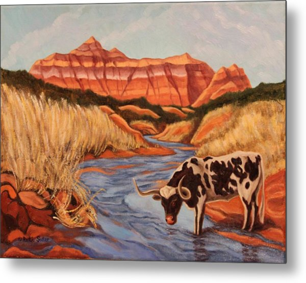 Texas Longhorn In Palo Duro Canyon Metal Print