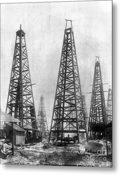Texas: Oil Derricks, C1901 Metal Print