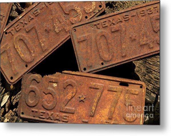 Texas Plates Metal Print