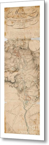 Texas Revolution Santa Anna 1835 Map For The Battle Of San Jacinto With Border Metal Print