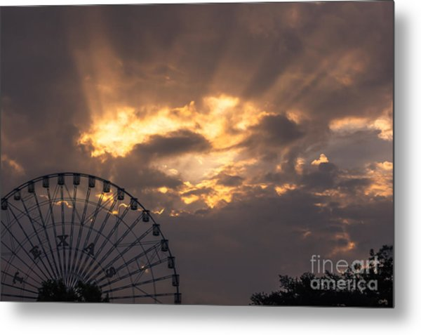 Texas Star Ferris Wheel And Sun Rays Metal Print