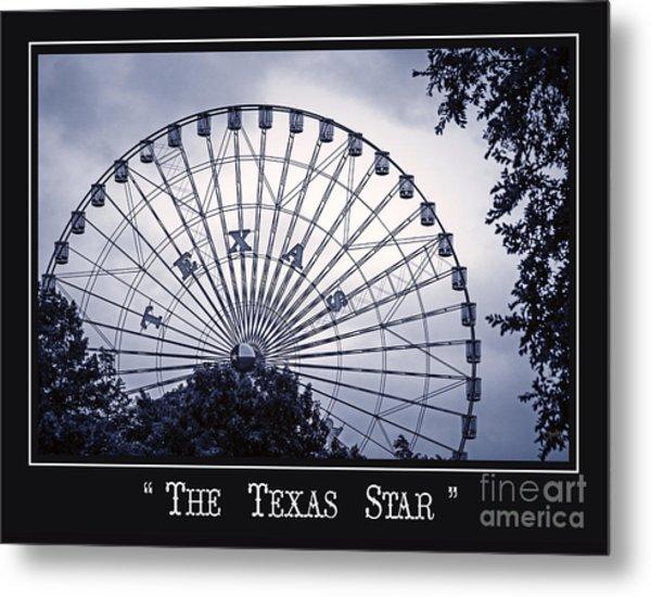 Texas Star In Blue Metal Print