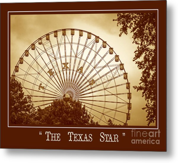 Texas Star In Gold Metal Print
