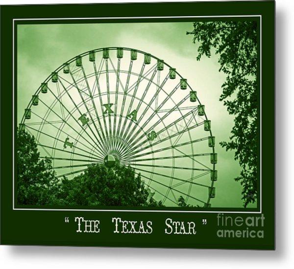 Texas Star In Green Metal Print