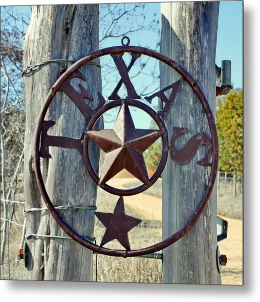 Texas Star Rustic Iron Sign Metal Print